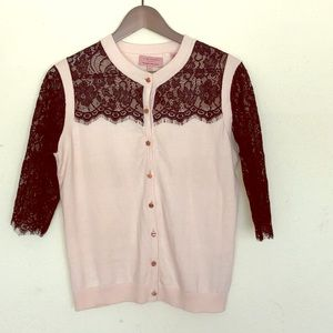 Ted Baker Size 3 Pink &Black Lace Sleeve Cardigan